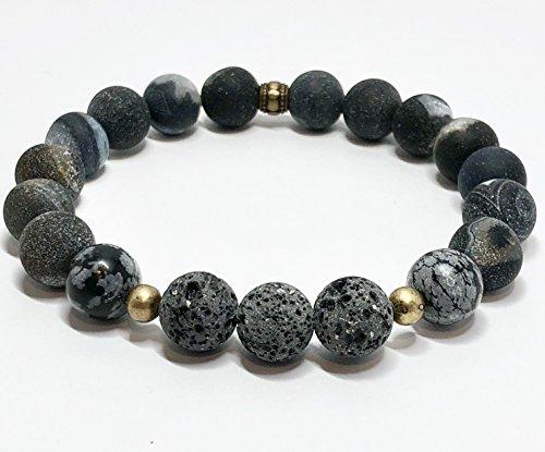 (Matte Black Agate Snowflake Obsidian Lava Stone Stretch Bracelet)