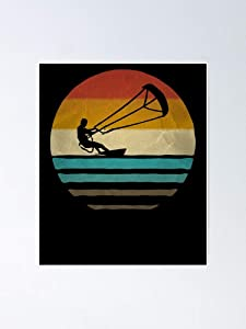 Retro Vintage Kiteboarding Surfing Windsurfing Water Sports Poster 12.75