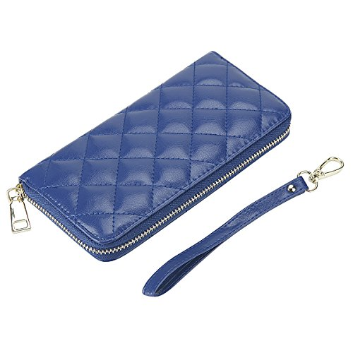 (Rnker Multi-purpose Genuine Leather Women Wallets /Clutch Wallet /Wristlet /Handbags Wallet/ Cellphone Case Fit for Iphone, Galaxy and All Cellphones (Blue))