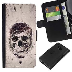 All Phone Most Case / Oferta Especial Cáscara Funda de cuero Monedero Cubierta de proteccion Caso / Wallet Case for HTC One M9 // Geometry Skull - Grunge