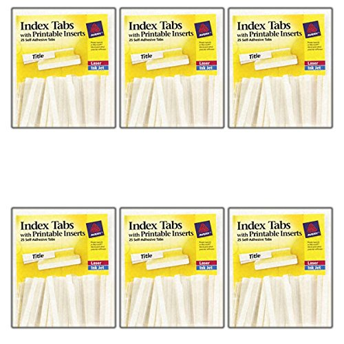 Printable Adhesive File Tabs Hanging (6-Pack: Avery 16241 Self-Adhesive Tabs White Printable Inserts, Clear Tab, 2