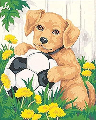 Paint By Number Canvas Ball - JynXos Needlecrafts Paintworks Paint By Number - Puppy & Soccer Ball