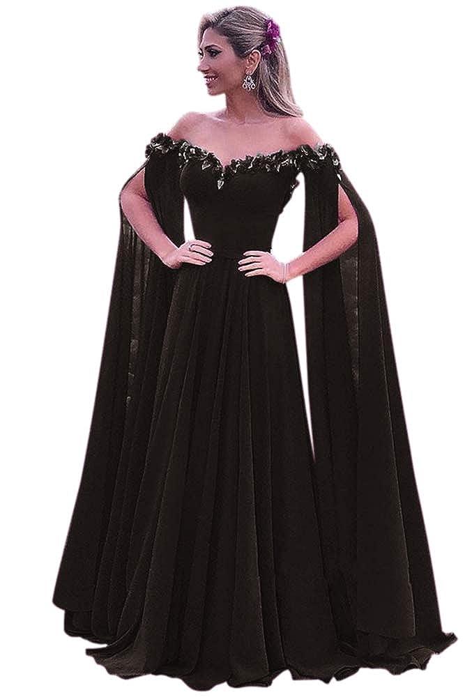 Black Harsuccting Elegant 3D Flower Long Sleeve Corset Evening Prom Dress