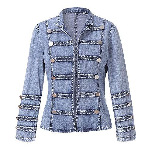 AIEason Women Cowboy Long Sleeve Double Row Button Denim Jacket Jean Outwear Coat