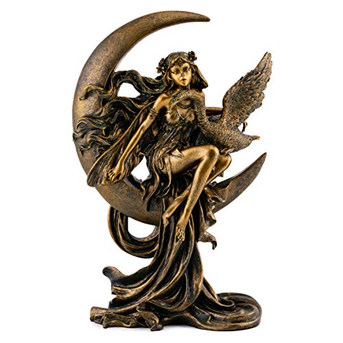 Top Collection Crescent Moon Fairy with Swan Statue- Hand Painted Mythical Creature Sculpture with Bronze Finish Look - 9.5-Inch Collectible Magical Figurine