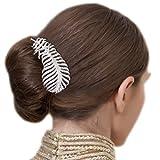 BriLove Womens Fashion Crystal Peacock Feather Shape Leaf Vine Wedding Bride Hair Comb Clear Silver-Tone