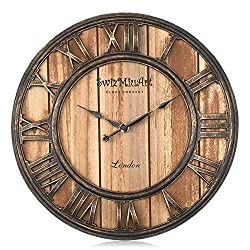 Wood Wall Clocks Rustic Farmhouse Battery Operated Non Ticking Silent Wall Clock Metal 3D Large Home Decor Retro Clocks for Bedrooms Walls ,Office,Living room,kitchen, Antique Vintage (13 inch brown)
