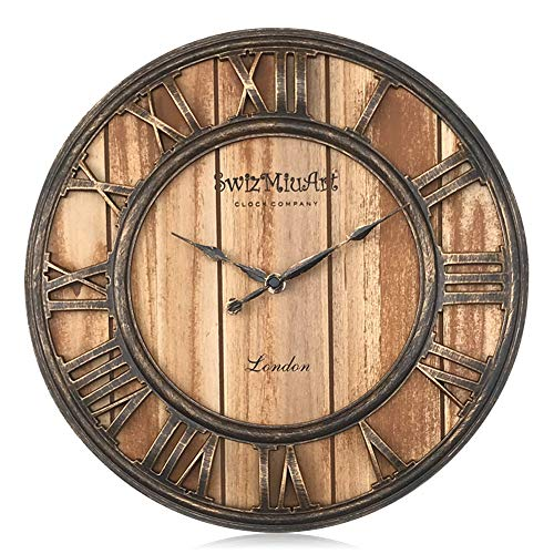 Wood Wall Clocks Rustic Farmhouse Battery Operated Non Ticking Silent Wall Clock Metal 3D Large Home Decor Retro Clocks for Bedrooms Walls ,Office,Living room,kitchen, Antique Vintage 13 inch brown
