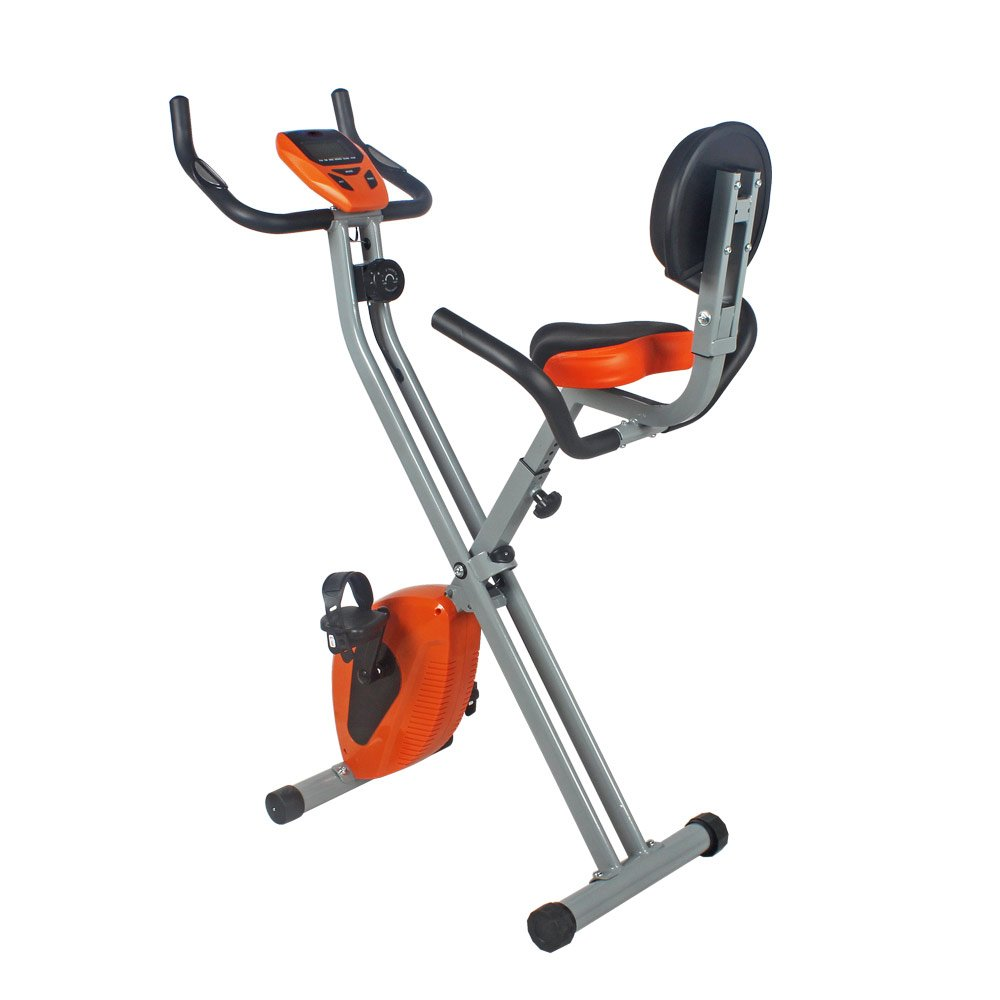 Folding Upright Exercise Stationary Bike with Hand Grip Pulse Sensor, Adjustable 8 Level Magnetic Resistance,Indoor Cycling Fitness Bike for Home Gym Orange 265LBS