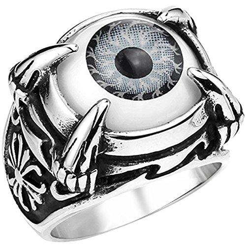 Men's Vintage Gothic Biker Dragon Claw Evil Devil Eye Cross Stainless Steel Ring Grey White Black Silver Size 8