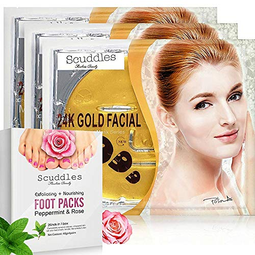 Exfoliating Nourishing Foot Packs Mask- Includes 4 Pairs Of Scented Peppermint & Rose Foot Gloves, Peels off Callus and Dead Skin, BONUS 3 Pack Of 24K Gold Collagen Gel Masks Sheets