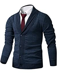 HARRISON83 Mens Slim Fit Basic Button Up Shawl Collar Knit Cardigan Sweater
