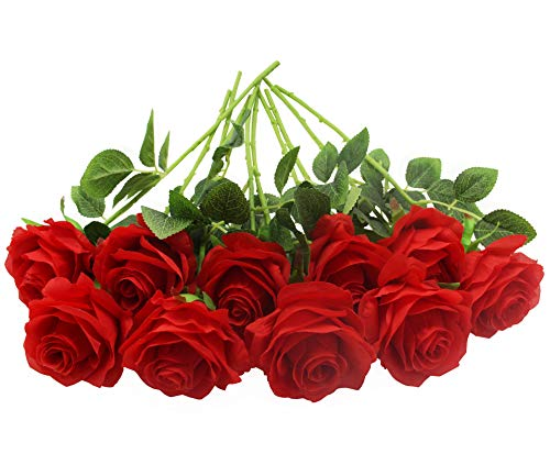 Wedding Flowers Red Pink (Kislohum Artificial Flowers Bluk Red Roses 10pcs Real Looking Fake Silk Roses for Wedding Bouquets Floral Leaf Centerpieces Party Home Decor Baby Shower - Red)