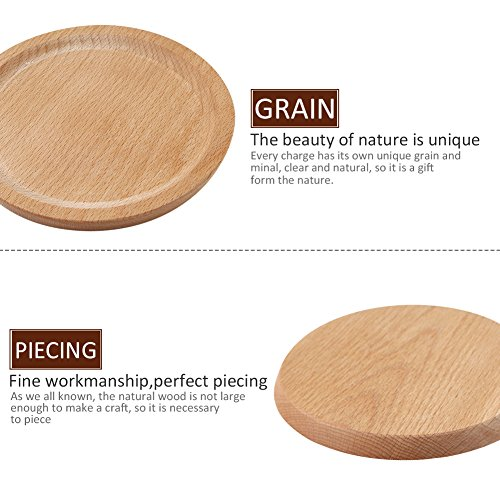Household Natural Wooden Plate Innovative Beech Coaster Serving Platter Tray Small Plate Wood Baking Tools for Kitchen Dining Room Living Room Cafe Shop Round by jannyshop (Image #4)
