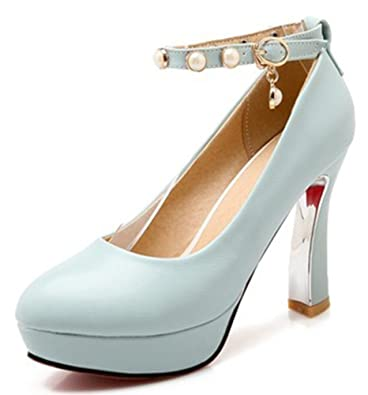 958a600a680e Sfnld Women s Classic Round Toe Pearl Ankle Strap Pump Shoes Blue 4 B(M)