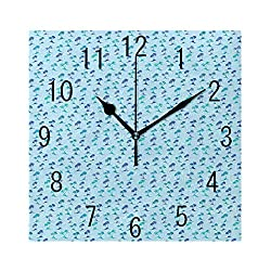 MTDKX Square Wall Clock Battery Operated Quartz Analog Quiet Desk 8 Inch Clock, Repetitive Palm Trees Deserted Island Abstract Silhouette