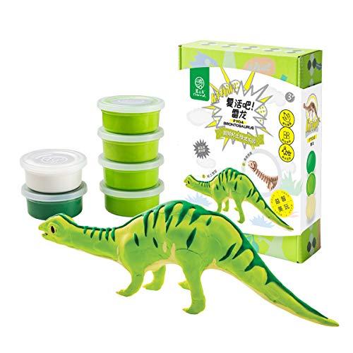 ROBUD Kids Modeling Air-Dry Clay-Creative Dinosaur Art DIY Crafts-3d Wooden Skeleton Puzzle-Dinosaur Play Set for Boys Girls Toddlers-Best Toy Birthday Gift(Brontosaurus)