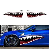 """iJDMTOY Complete Set 60"""" Full Size Shark Mouth w/ Eye Die-Cut Vinyl Decals For Car (Left & Right)"""