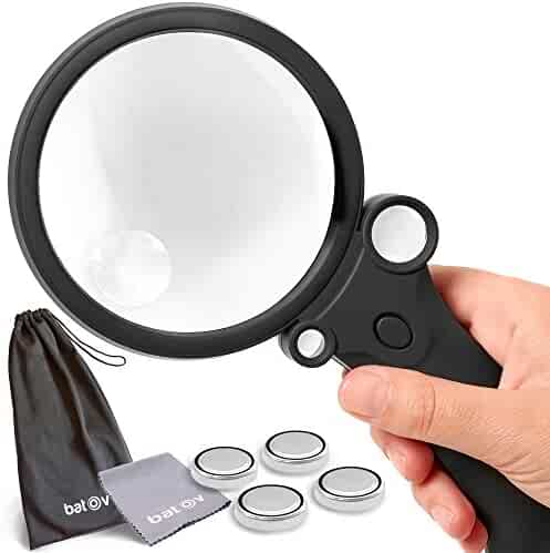 batov 4in1 Collectors Magnifier With Light. 4 Built-in Lighted Magnifying Glass 2.5x 4.5x 25x 55x. Professional Handheld 3.5 inch (90mm). Best For Reading, Coin, Stamp and Rock Collecting.