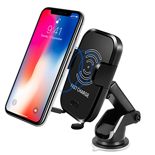 Wireless Car Charger, LARMHOI Qi Fast Charging with Holder, Infrared Sensing and Finding Cars, 10W Charger for Samsung Galaxy S9/S8 S7 edge S6 edge Note 8 and Standard Charge for iPhone X 8 Plus by LARMHOI