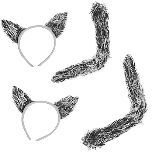2 Sets of Wolf Ears & Tails - 2 Sets Of Faux Fur Grey Worf Ears Headbands And Tails For Costume -