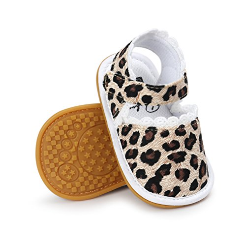 CoKate Baby Toddler Boy Girls Bow Knot Sandals First Walker Shoes (12cm 6~12Months, Classic Leopard) - New In Leopard