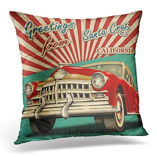 UPOOS Throw Pillow Cover 1950S Vintage Touristic with Retro Car Santa Cruz California 1960S 1970S Decorative Pillow Case Home Decor Square 18x18 Inches Pillowcase - Vintage 70s Plaid