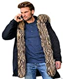 Aofur Mens Winter Warm Thick Faux Fur Slim Trench Coat Long Jacket Parka Hooded Pea Coat Winter Coat S-XXXL (Medium, Black)