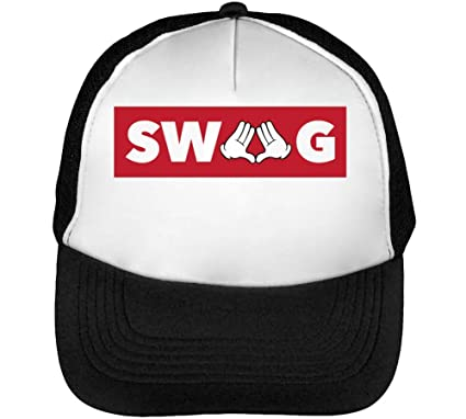 5fdd6661a0c CapWorld Swag Red Framed Slogan Men s Baseball Trucker Cap Hat Snapback  Black White  Amazon.co.uk  Clothing