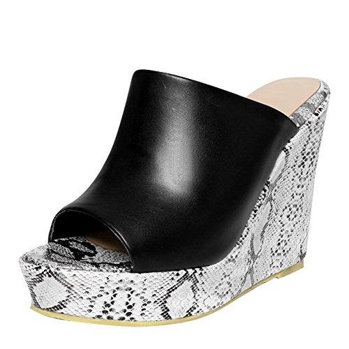 Black Snake Print Platform - Carolbar Women's Peep Toe Snakeskin Print Platform Wedges Sandals Slippers (5.5, Black)