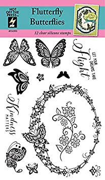 Inspiration at Your Finger Tips Floral Label Scrapbooking Clear Silicone Stamp by Hot Off The Press Gifts and Home D/écor Card Making