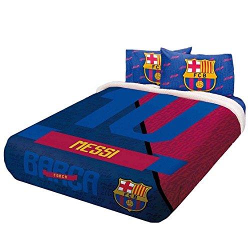 MESSI BARCELONA FOOTBALL CLUB ORIGINAL LICENSED FUZZY FLEECE BLANKET 5 PCS FULL by JORGE'S HOME FASHION