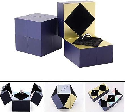 ZYAO Rubik Cubo Joyero Creatividad Propuesta Anillo Pulsera Collar Colgante Caja para Proponer y Confesar Sorpresa Regalo: Amazon.es: Joyería