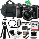 Sony Alpha ILCE-6000L/B a6000 Digital Camera with 16-50mm Lens Bundle with DigitalAndMore Accessory Bundle (Black)