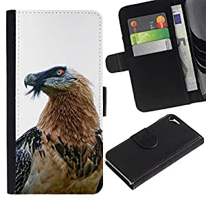 A-type (Hawk Eagle Bird Nature White Beak Feather) Colorida Impresión Funda Cuero Monedero Caja Bolsa Cubierta Caja Piel Card Slots Para Apple Iphone 5 / 5S