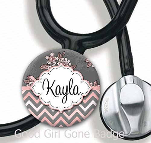 Adjustable to Fit Cardiology or Standard Steth Stethoscope Id Tag Personalized Polka Dots 6 colors