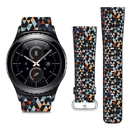 Compatible with Samsung Gear S2 Classic & Sport // 22mm Leather Replacement Bracelet Strap Wristband with Quick Release Pins // Origami Ornament