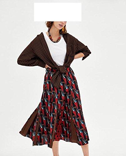 Swing Taille Jupe Dots Gomtrique Print Ligne Femmes Longue avec Noir Maxi mi Mesdames A Jupe Motif Jupe Haute lgante FuweiEncore OYgPwxTFqn
