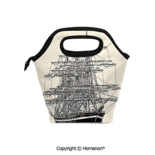 Insulated Neoprene Soft Lunch Bag Tote Handbag lunchbox,3d prited with Sailing Boat Detailed Maritime Theme Vintage Style Art,For School work Office Kids Lunch Box & Food Container