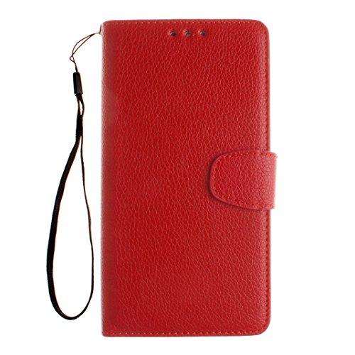 Funda HTC One M8, HTC M8 PU Cuero Carcasa, Moon mood® Color Sólido Rosa Rojo Suave TPU Interior Caso Cubierta Funda con Tapa Libro Billetera Magnético Cierre Soporte y Ranura Tarjeta Anti-arañazo Capa Rojo
