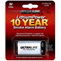 Ultralife U9VLJPXC Lithium Battery, 9V, For Smoke/CO Detector - 1 Piece Retail Card