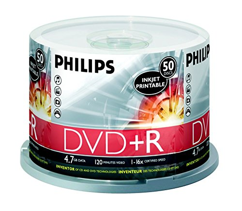 Philips White Inkjet Printable 16X DVD+R Media 50 Pack in Cake Box (DR4I6B50F/17) by Philips