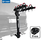 Tyger Auto TG-RK4B102B Deluxe 4-Bike Carrier Rack Fits Both 1-1/4'' and 2'' Hitch Receiver | with Hitch Pin Lock & Cable Lock | Soft Cushion Protector