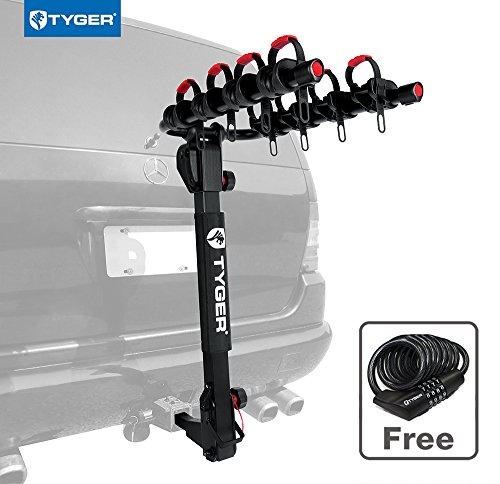 Tyger Auto TG-RK4B102B Deluxe 4-Bike Carrier Rack Fits Both 1-1/4'' and 2'' Hitch Receiver | with Hitch Pin Lock & Cable Lock | Soft Cushion (2' Receiver Mount 3 Bike)