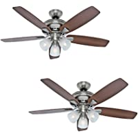 Hunter Winslow 52-in Brushed Nickel Indoor Ceiling Fan w/ Light Kit