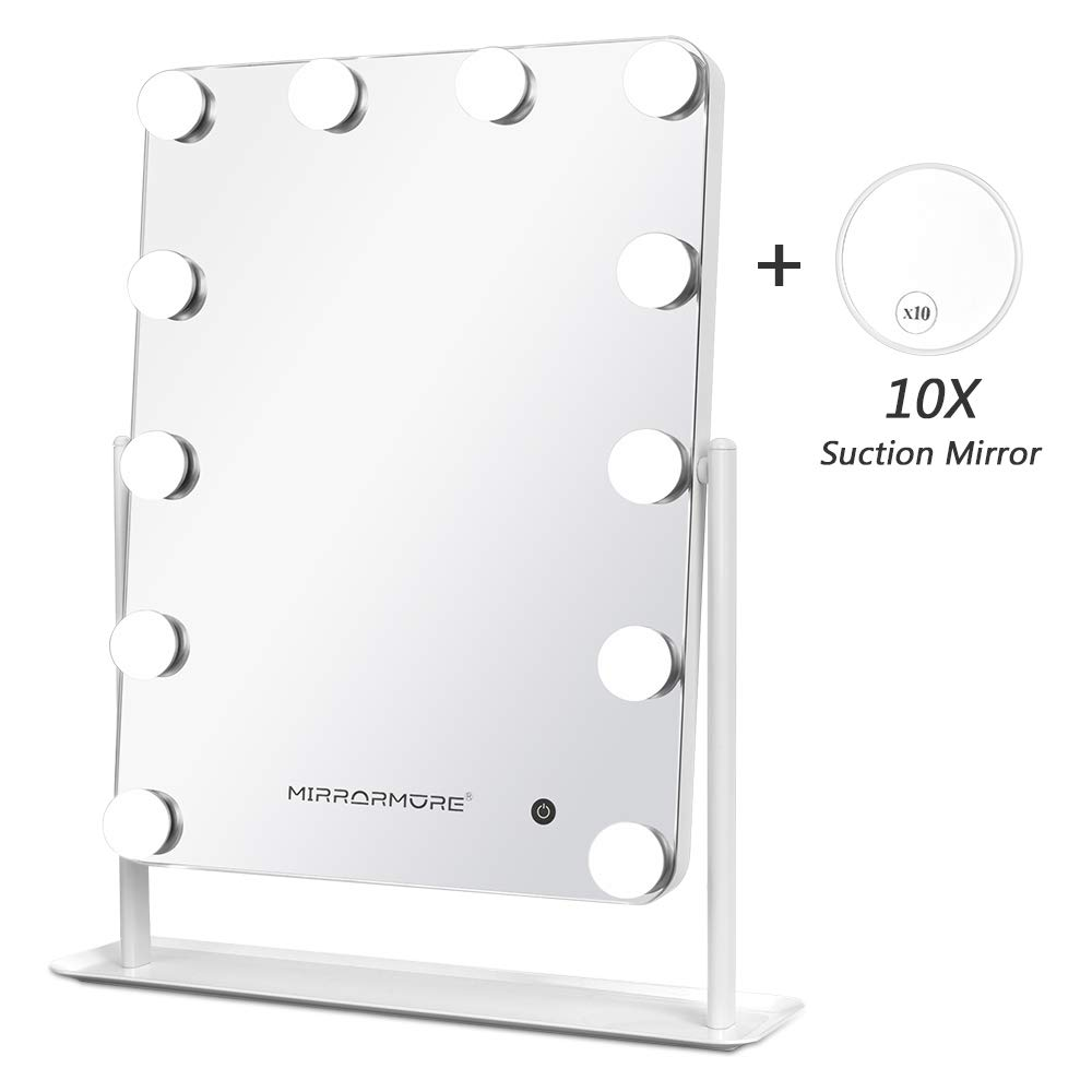 Lighted Makeup Mirror with 12 Dimmable LED Bulbs, Touch Control Design, 3 Light Modes, Hollywood Style Makeup Mirror with Lights, Large Cosmetic Mirror, 14'' W x 18''H, White
