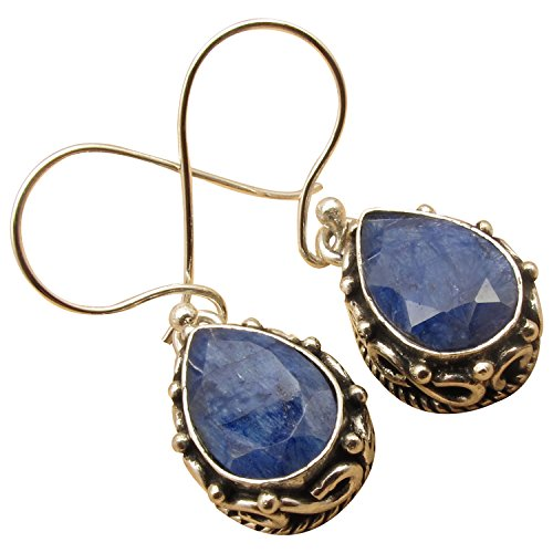 925 Silver Overlay Antique Tibetan Style Earrings ! Many Natural Gemstones Options ! Oxidized Jewelry