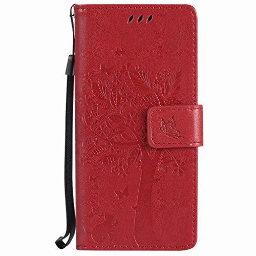 Yiizy Samsung Galaxy S8 Custodia Cover, Alberi Disegno Design Sottile Flip Portafoglio PU Pelle Cuoio Copertura Shell Case Slot Schede Cavalletto Stile Libro Bumper Protettivo Borsa (Rosso)