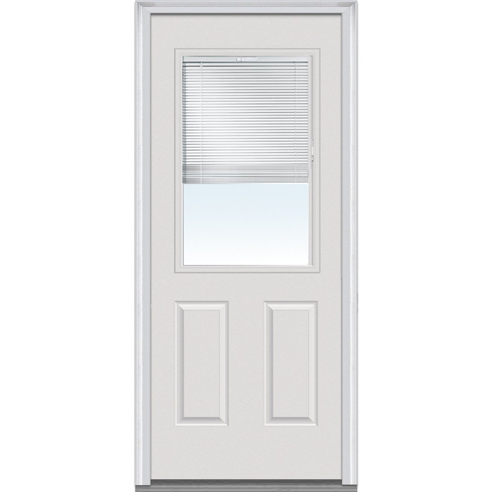 National Door Company Z020354L Fiberglass Internal Mini Blinds Clear LowE Impact Glass 1/2'' Lite 2-Panel Smooth Severe Weather Left Hand Out-Swing Entry Door, 36'' x 80''