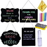 4 Pcs Small Chalkboard Sign with String Hanging Mini Chalkboard Signs Menu Wall Chalkboard Double-Sided Wood Memo Message Blackboard Signs Reusable Chalkboard Set for School Kitchen